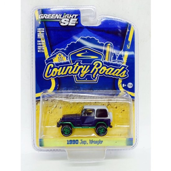 Jeep: Wrangler (1990) - Country Roads - Azul - 1:64 - Greenlight (Chase / Green Machine)