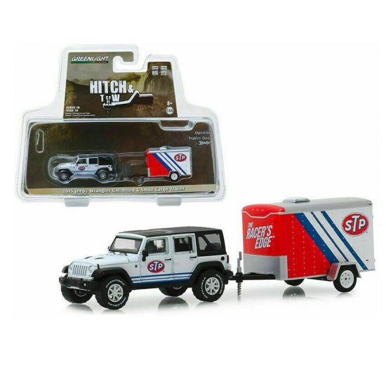 Miniatura Carro Jeep Wrangler Unlimited (2015) c/ Trailer STP - Hitch & Tow - Série 18 - 1:64 - Greenlight Collectibles