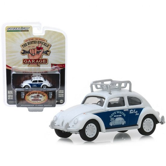 Miniatura Carro Volkswagen Classic Beetle / Fusca - The Busted Knuckle Garage - Hollywood - Série 1 - 1:64 - Greenlight