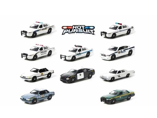 Hot Pursuit Set: c/ 10 Miniaturas de Carros de Polícia - 1:64