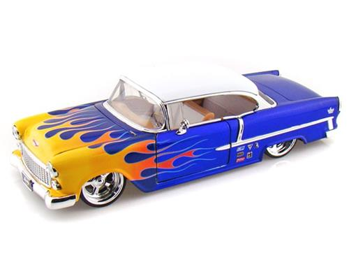Chevrolet: Bel Air (1955) - Azul c/Flames - 1:24