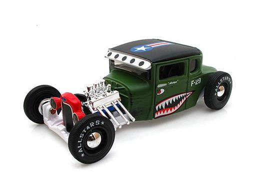 Miniatura Carro Ford Model A Hot Rod (1929) Hot Rod Army - Verde - AllStars - 1:24 - Maisto