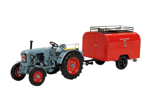 Eicher: Diesel Tractor ED 16/I + Tank Trailer Fire Engine - 1:43
