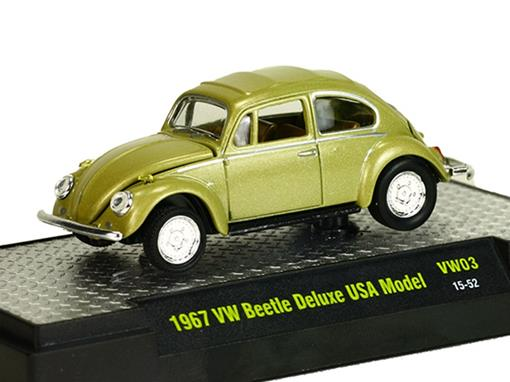 Volkswagen: Beetle / Fusca Deluxe USA Model (1967) Bege - 1:64 - M2 Machines