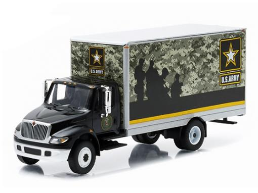 International DuraStar: Box Van - U.S Army - Preto - 1:64 - Greenlight