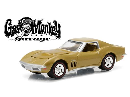 Chevrolet: Corvette (1969) - Gas Monkey Garage - Hollywood - Série 12 - Dourado - 1:64 - Greenlight
