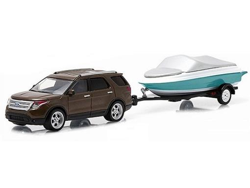 Ford: Explorer c/ Barco Reboque (2013) - Hitch & Tow - Série 4 - 1:64 - Greenlight