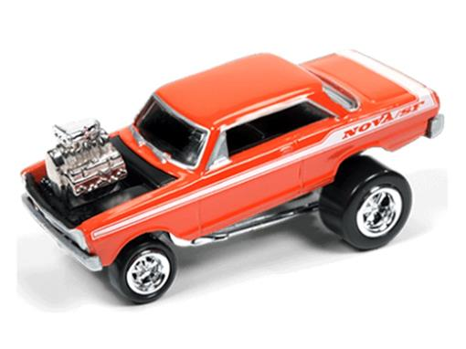 Miniatura Carro Chevrolet Nova (1963) - Street Freaks - 2016 Series - Laranja - 1:64 - Johnny Lightning