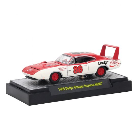 Miniatura Carro Dodge Charger Daytona HEMI (1969) - Coca-Cola - 1:64 - M2 Machines
