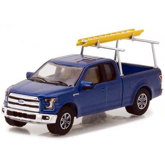 Miniatura Picape Ford F-150 c/ Escada (2015) - Blue Collar Collecction - Série 3 - 1:64 - Greenlight