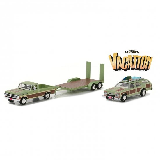 Set Miniatura Picape Ford F100 (1972) c/ Wagon Queen Family Truckster (1972) e flatbed trailer - Vacation - 1:64 - Greenlight