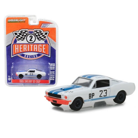 Miniatura de Carro Ford Shelby GT-350 #23 (1965) - Branco - Heritage Racing - Serie 2 - 1:64 - Greenlight