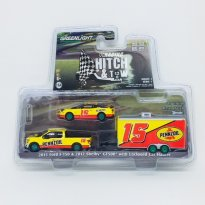 Imagem - Miniatura Set Ford F-150 (2015) & Shelby GT500 (2012) c/ Trailer - Hitch & Tow Racing - Série 1 - 1:64 - Greenlight (Chase / Green Machine)