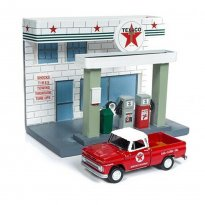 Imagem - Miniatura Diorama Chevrolet Pickup (1965) - Texaco - 1:64 - Johnny Lightning