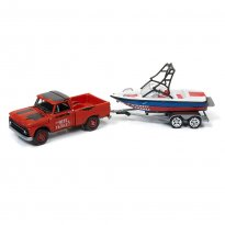 Imagem - Chevrolet: Truck c/ Barco e Trailer (1965) - Gone Fishing - 2017 Series - 1:64 - Johnny Lightning