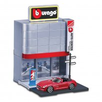Imagem - Cenário Centro Automotivo c/ Mercedes Benz SLS AMG Roadster - Build Your City - 1:43 - Burago