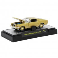 Miniatura Carro Ford Mustang Fastback 2+2 200 (1968) Bege - Detroit Muscle - 1:64 - M2 Machines