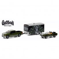 Set Miniatura Ford Shelby GT500KR (1968) / Ford F-150 (2015) c/ Trailer - Gas Monkey Garage - Hitch & Tow Hollywood - Series 1 - 1:64 - Greenlight