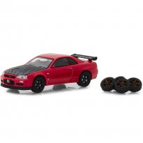 Imagem - Miniatura Carro Nissan Skyline GT-R [BNR34] (2002) c/ Rodas Extras - The Hobby Shop - 1:64 - Greenlight