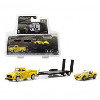 Imagem - Miniatura Set Ford F-100 (1954) & Conventry Motors 289 Cobra c/ Trailer - Hitch & Tow Racing - Série 1 - 1:64 - Greenlight