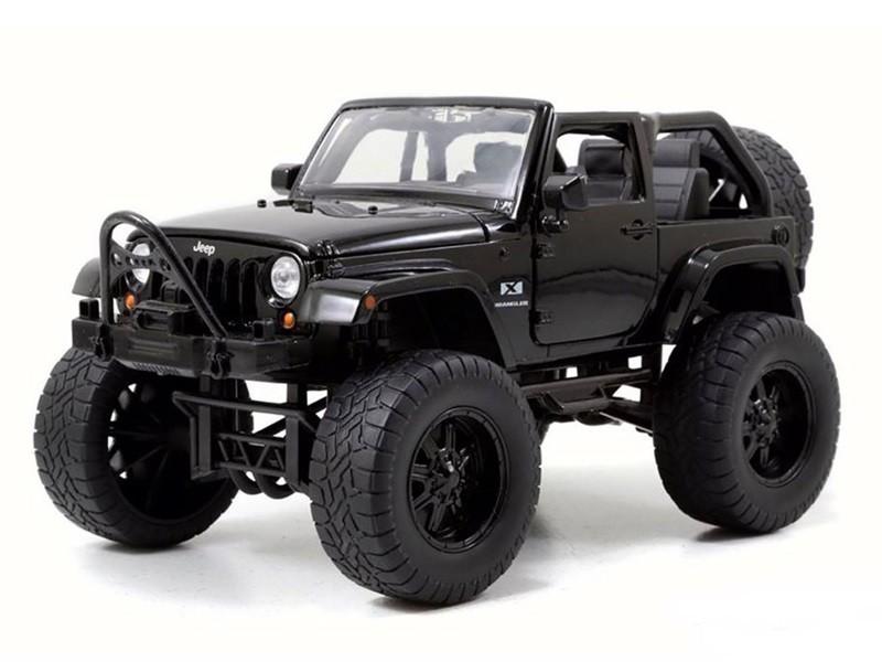 Miniatura Carro Jeep Wrangler (2007)   Off Road   Preto   1:24